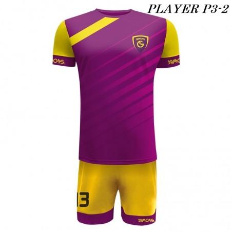 Strój Piłkarski Damons PLAYER P3 fioletowo zółte