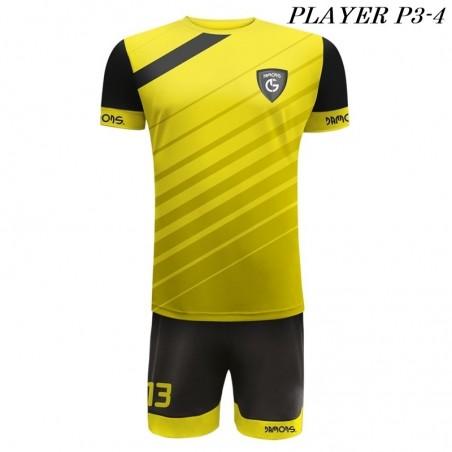 Strój Piłkarski Damons PLAYER P3 żółto czarne ukośne pasy