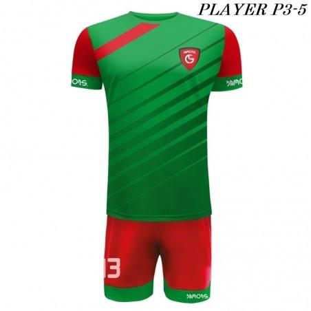 Strój Piłkarski Damons PLAYER P3 zielono czerwone ukośne pasy
