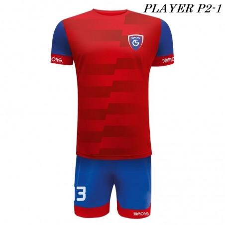 Strój Piłkarski Damons PLAYER P2 czerwono niebieski