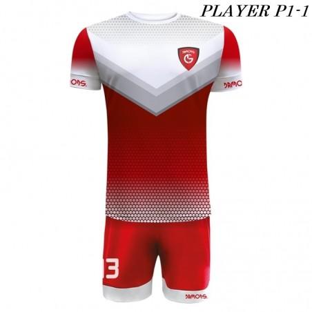 Strój Piłkarski Damons PLAYER P1 czerwono białe