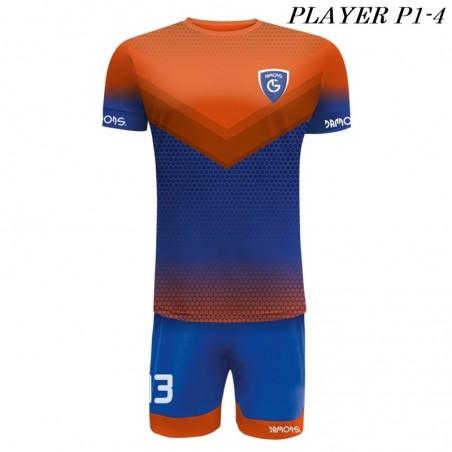 Strój Piłkarski Damons PLAYER P1 niebiesko pomarańczowe