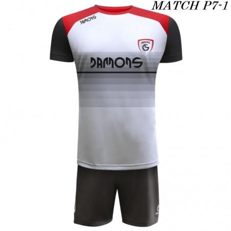Strój Piłkarski Damons MATCH P7 w kolorze białym czarnym i czerwonym