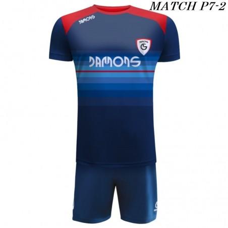 Strój Piłkarski Damons MATCH P7 w kolorze granatowym niebieskim i czerwonym
