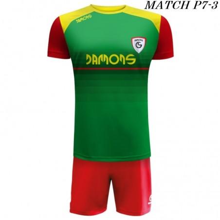 Strój Piłkarski Damons MATCH P7 w kolorze zielonym, czerwonym i żółtym