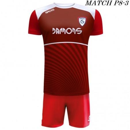 Strój Piłkarski Damons MATCH P8 kolory dominujące bordowy i czerwony