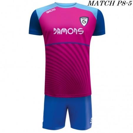Strój Piłkarski Damons MATCH P8 kolory dominujące różowy i niebieski
