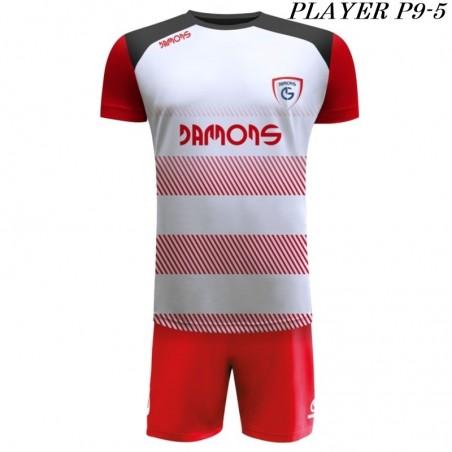 Strój Piłkarski Damons PLAYER P9 biało czerwony