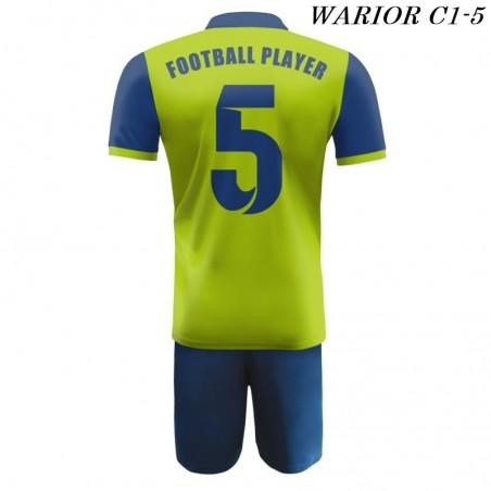Strój Piłkarski Damons WARRIOR C1 zielono niebieski tył