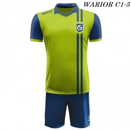 Strój Piłkarski Damons WARRIOR C1 zielono niebieski przód