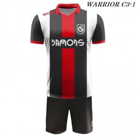 Strój Piłkarski Damons WARRIOR C3 biało czarno czerwone przód