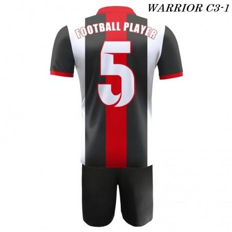 Strój Piłkarski Damons WARRIOR C3 biało czarno czerwone plecy