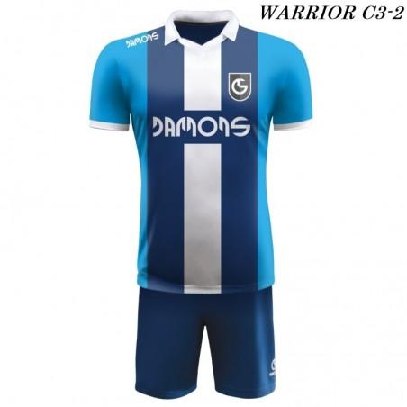 Strój Piłkarski Damons WARRIOR C3 biało granatowo niebieskie