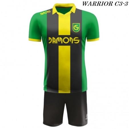 Strój Piłkarski Damons WARRIOR C3 zielono czarno żółte