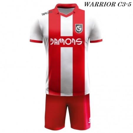 Strój Piłkarski Damons WARRIOR C3 biało czerwone