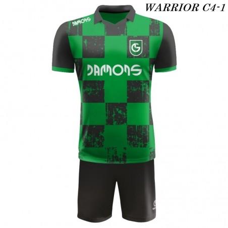 Strój Piłkarski Damons WARRIOR C4 zielono czarny przód