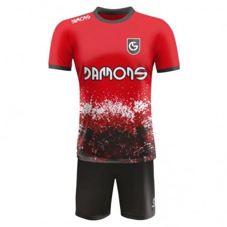 Strój piłkarski Damons Warrior R3 czerwono czarny