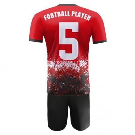 Strój piłkarski Damons Warrior R3 czerwono czarny plecy
