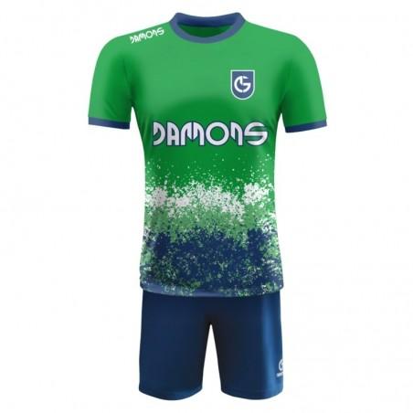 Strój piłkarski Damons Warrior R3 zielono niebieski