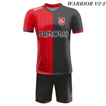 Strój piłkarski Damons Warrior V2 czerwono czarne