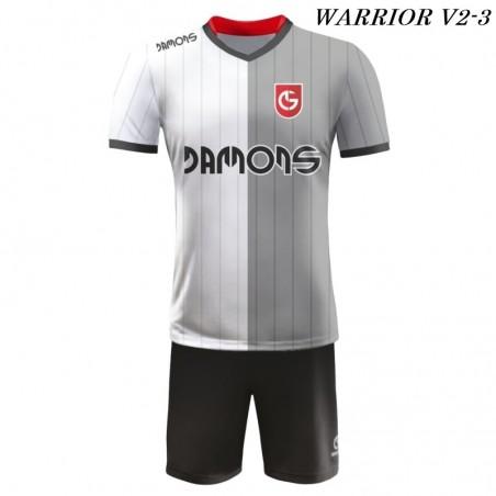 Strój piłkarski Damons Warrior V2 biało szaro czarne