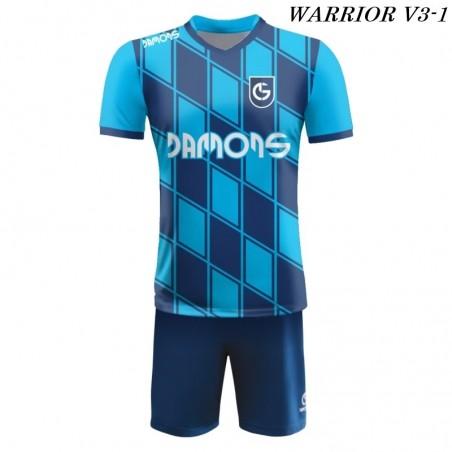 Strój piłkarski Damons Warrior V3 granatowo błękitny