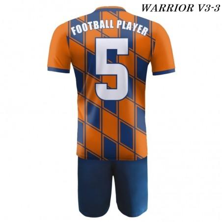 Strój piłkarski Damons Warrior V3 pomarańczowo granatowy tył