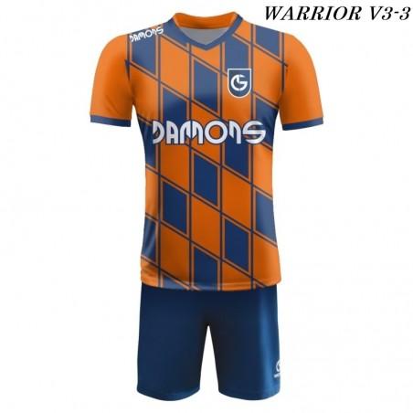 Strój piłkarski Damons Warrior V3 pomarańczowo granatowy przód