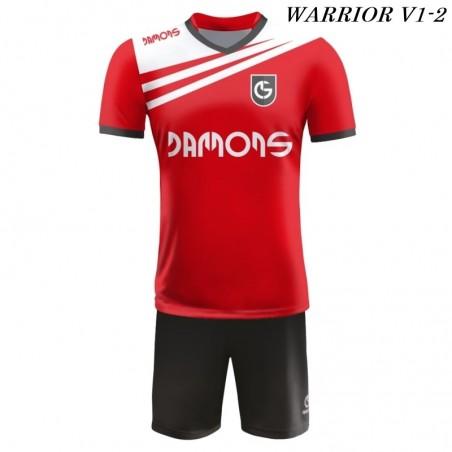 Strój piłkarski Damons Warrior V1 czerwono biało czarne przód