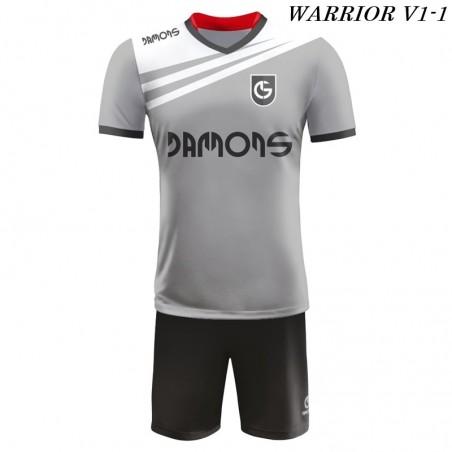 Strój piłkarski Damons Warrior V1 szaro biało czarne