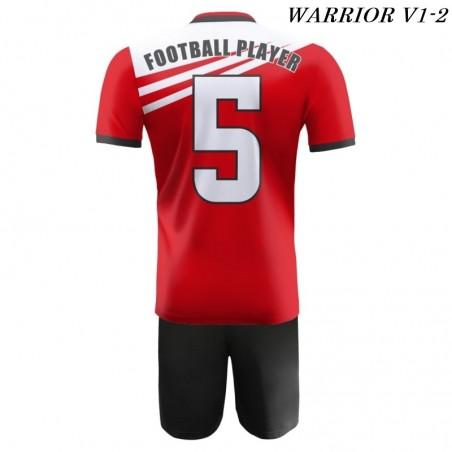 Strój piłkarski Damons Warrior V1 czerwono biało czarne tył