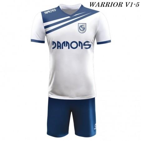 Strój piłkarski Damons Warrior V1 biało granatowe
