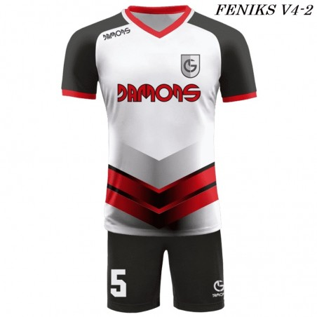 Strój piłkarski Damons FENIKS V4 biało czarno czerwone