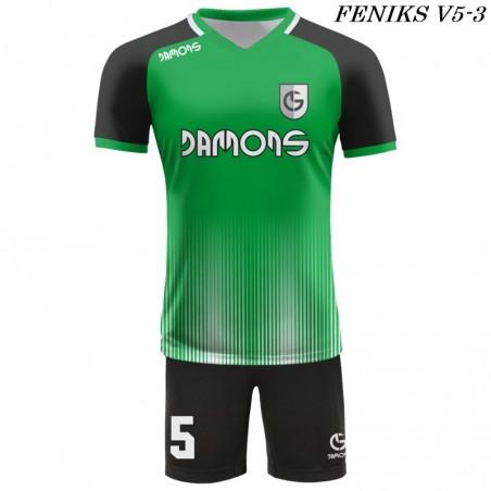 Strój piłkarski Damons FENIKS V5 zielono czarny