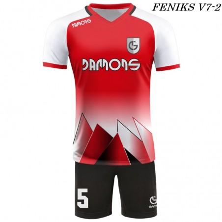 Strój piłkarski Damons FENIKS V7 kolor dominujący czerwony