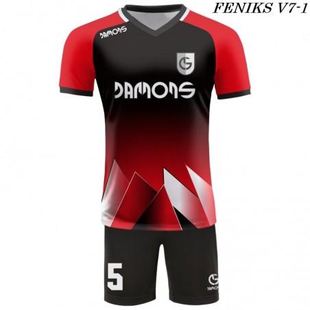 Strój piłkarski Damons FENIKS V7 kolor czarno-czerwony