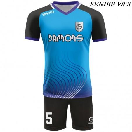 Strój piłkarski Damons FENIKS V9 kolor dominujący niebiesko-czarny