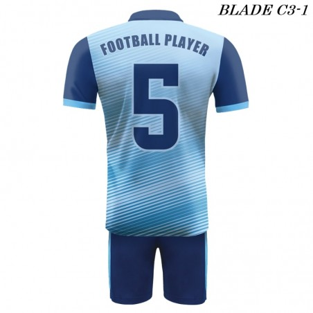 Strój piłkarski Damons BLADE C3 błękitne widoczność z tyłu