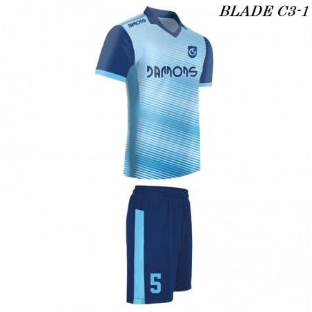 Strój piłkarski Damons BLADE C3 błękitne widoczność z profilu