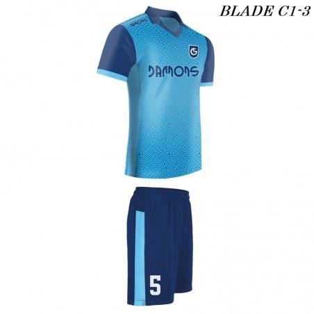 Strój piłkarski BLADE C1 błękitno-niebieski