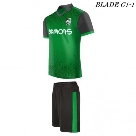 Strój piłkarski BLADE C1 zielony z profilu