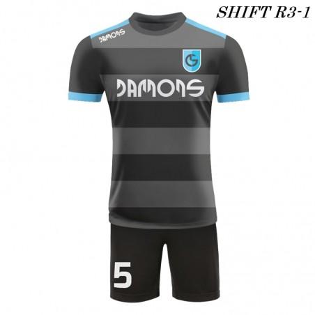 Strój piłkarski Damons SHIFT R3 szaro-czarny przód