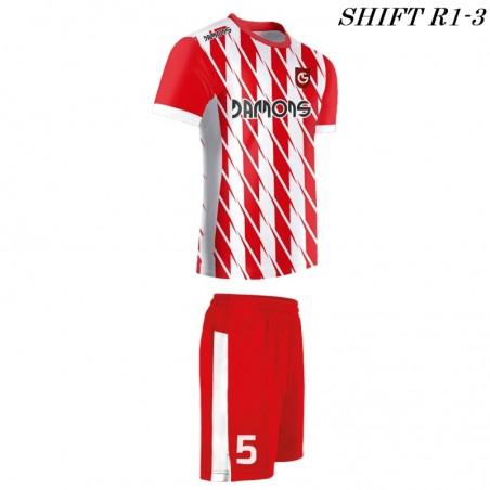 Strój piłkarski Damons SHIFT R1-3 biało-czerwony. Komplety dla piłkarzy.