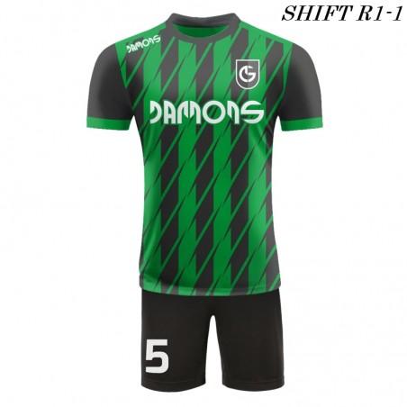 Strój piłkarski Damons SHIFT R1-1 zielony. Komplety dla piłkarzy.