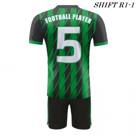 Strój piłkarski Damons SHIFT R1-1 zielony / plecy. Komplety dla piłkarzy.