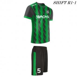 Strój piłkarski Damons SHIFT R1-1 zielony/ profil. Komplety dla piłkarzy.
