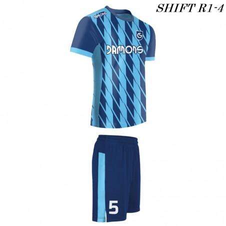 Strój piłkarski Damons SHIFT R1-4 niebieski. Komplety dla piłkarzy.