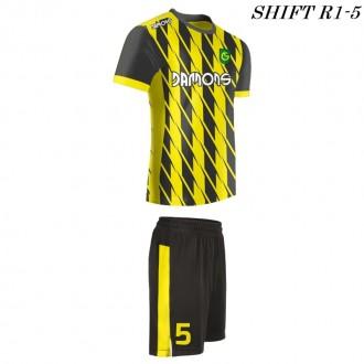 Strój piłkarski Damons SHIFT R1-5 żółty. Komplety dla piłkarzy.