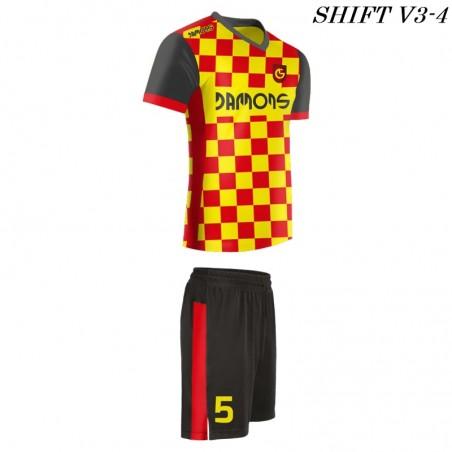 Strój piłkarski Damons SHIFT V3-4 żółto-czerwony. Komplety dla piłkarzy.