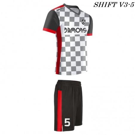 Strój piłkarski Damons SHIFT V3-1 biało-szary. Komplety dla piłkarzy.